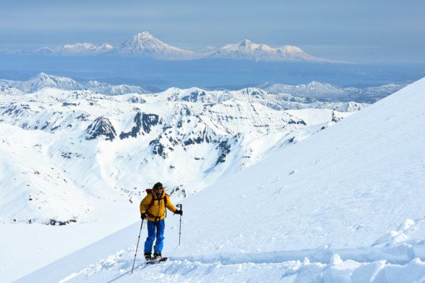 On the slopes of Viluchinsky volcano, Kamchatka. On the background - volcanoes Arik, Aag, Koryaksky, Avachinsky, Kozelsky.