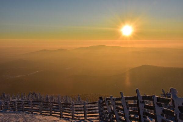 Sunset in Sheregesh, small ski resort in Siberia