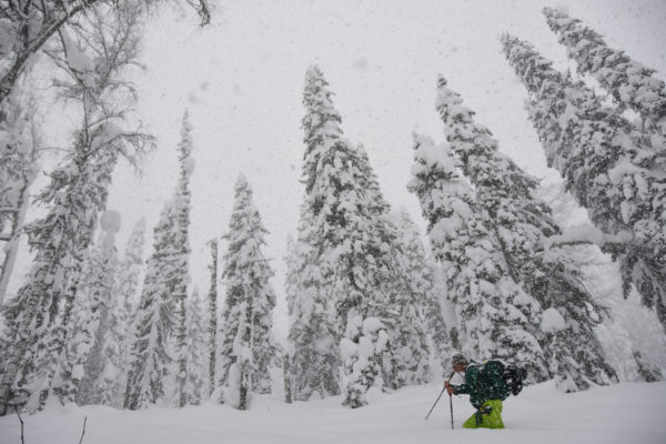 Trail breaking in mid-November. Luzhba Skitouring Lodge, Siberia.