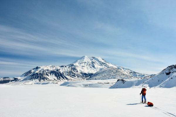Approaching the Ichinskaya Sopka volcano, Kamchatka.