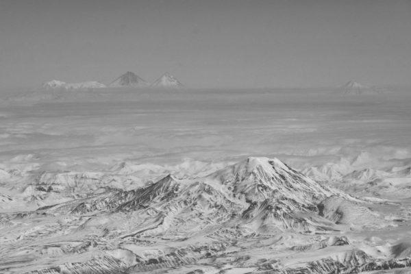 View on Kluchevskaya group of volcanoes and Ichinskay Sopka volcano.