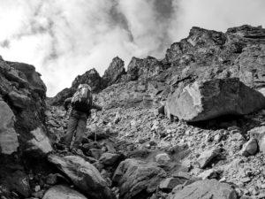 Technical part of backpacking in Ganalskie Vostryaki massif, Kamchatka.