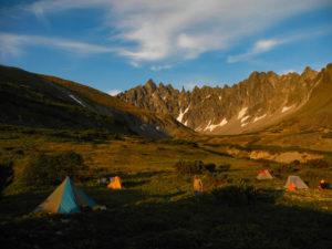 Ganalskie Vostryaki massif camping, Kamchatka.