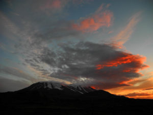 Evening clouds above Tolbachik volcano, Kamchatka.