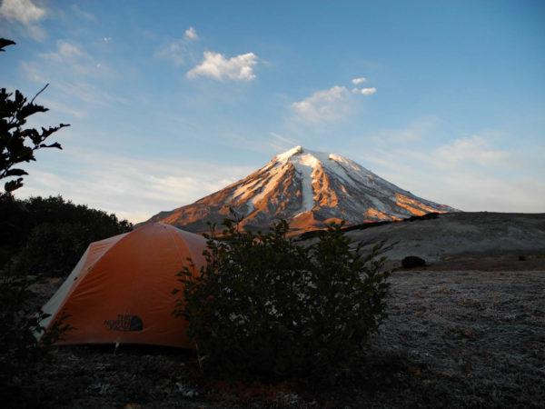September's morning near Koryaksky volcano, Kamchatka.