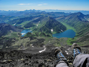 View from the summit of Bakening volcano, highest point of Ganalsky range, Kamchatka.