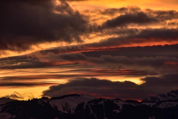 Sunset clouds over Saint-Gervais-les-Bains