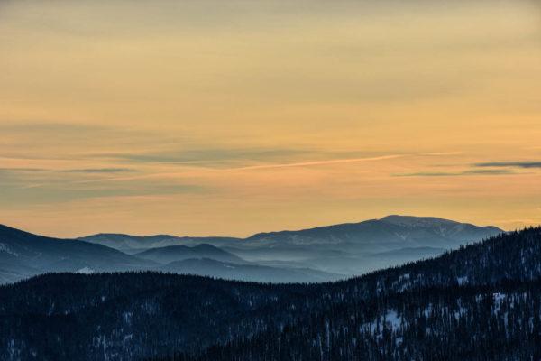 Sunrise over southern part of Kuznetsky Alatau range, Siberia.