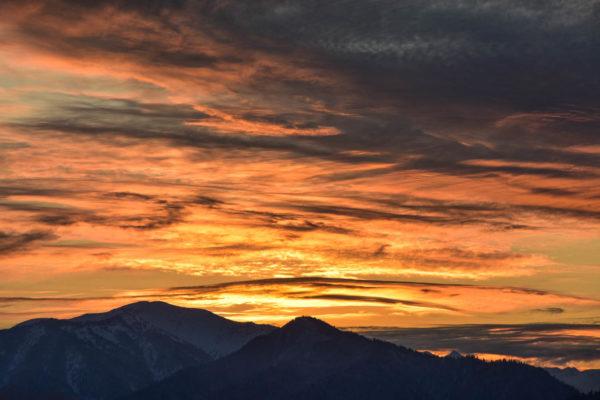 Sunset over Khamar-Daban range, Lake Baikal area.